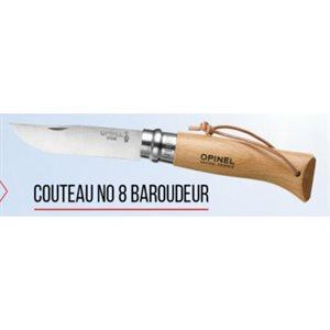 COUTEAU NO. 8 BOIS / INOX AVEC CORDE BAROUDEUR